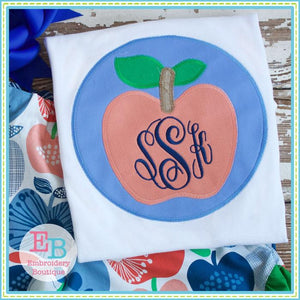 Apple Circle Patch Zigzag Applique - embroidery-boutique