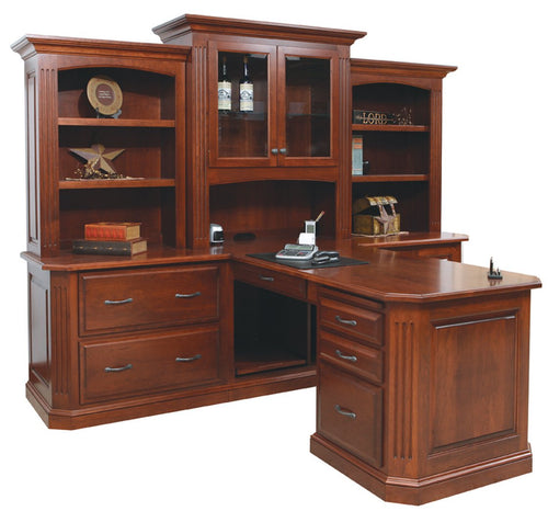 Buckingham Partner Desk with 3 Piece Hutch