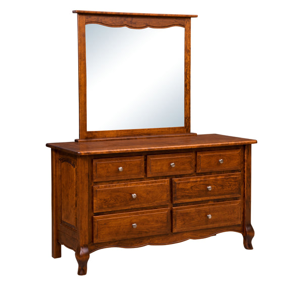 French Country 7-Drawer Dresser w/Mirror