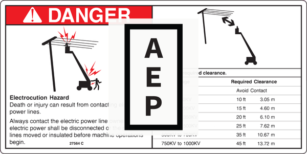 Genie 27564 DECAL,DANGER,ELEC.HAZ.STAY CLR