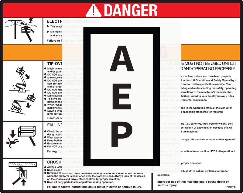 JLG 1703797, DECAL,WARNING/DANGER PLAT