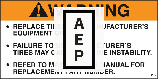 Mec 8519 Decal, Warning replacement