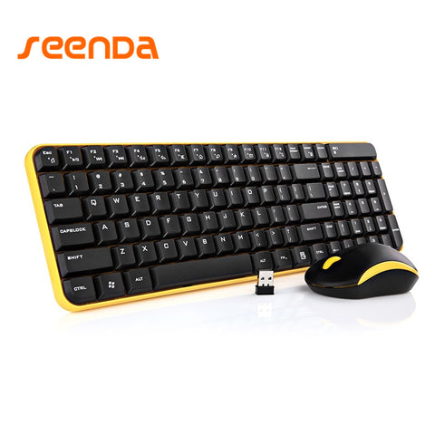 Ultra-Slim 2.4GHz USB Wireless Keyboard and Mouse Combo For Home and Office Use, Quiet Keys