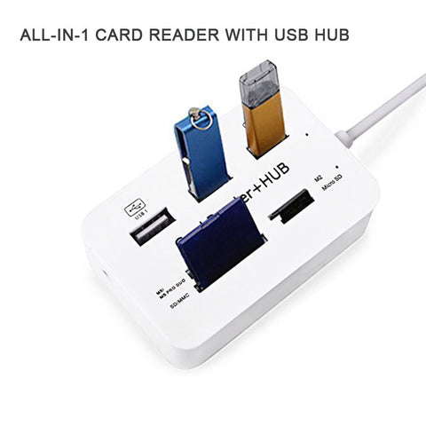 New Portable All In One USB 2.0 Hub 3 Ports With USB Card Reader Hub 2.0 480Mbps Combo For MS/M2/SD/MMC/TF For PC Laptop QJY99