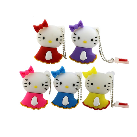 hot sell 5 colors Hello Kitty USB Flash Drive cat pen drive special gift fashion cartoon Animal 4GB/8GB/16GB Wholesale
