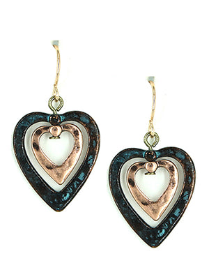 Verdigris Earrings Hearts