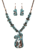 Verdigris Earrings & Necklace Cat Set