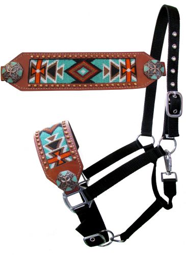 Orange and Turquoise Beaded Bronc Halter