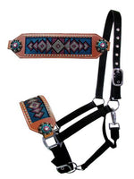 Teal & Pink Crystal Diamond Bronc Halter