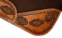 Leather Stamped Aztec Saddle Pad