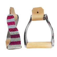 Pink Striped Rhinestone Twisted Stirrups