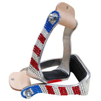 Red White & Blue Rhinestone Stirrups