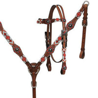 Red & White Beaded Tack Set