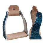 Teal Rhinestone Twisted Stirrups