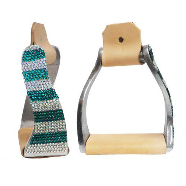 Teal Striped Rhinestone Twisted Stirrups