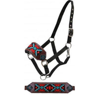 Teal & Red Beaded Bronc Halter