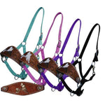 Tooled & Hair On Barrel Racer Bronc Halter (Several Colors Available)