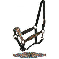 Tooled & Teal Buckstiched Halter