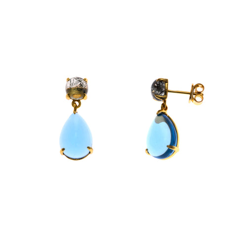 Light Blue Crystal and Rutilated Quartz Drop Earrings