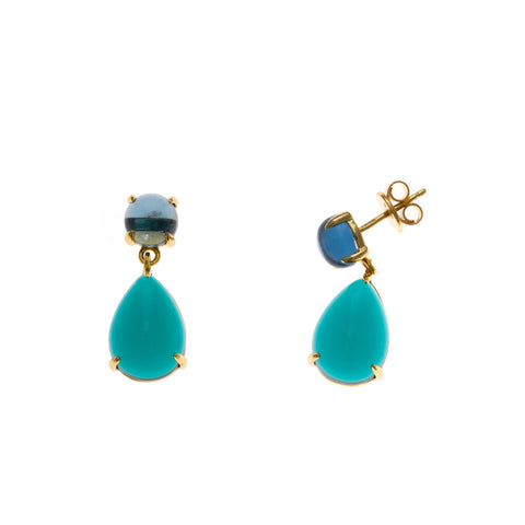 Dark Blue and Green Crystal Drop Earrings
