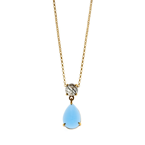 Rutilated Quartz and Aqua Blue Crystal Teardrop Necklace