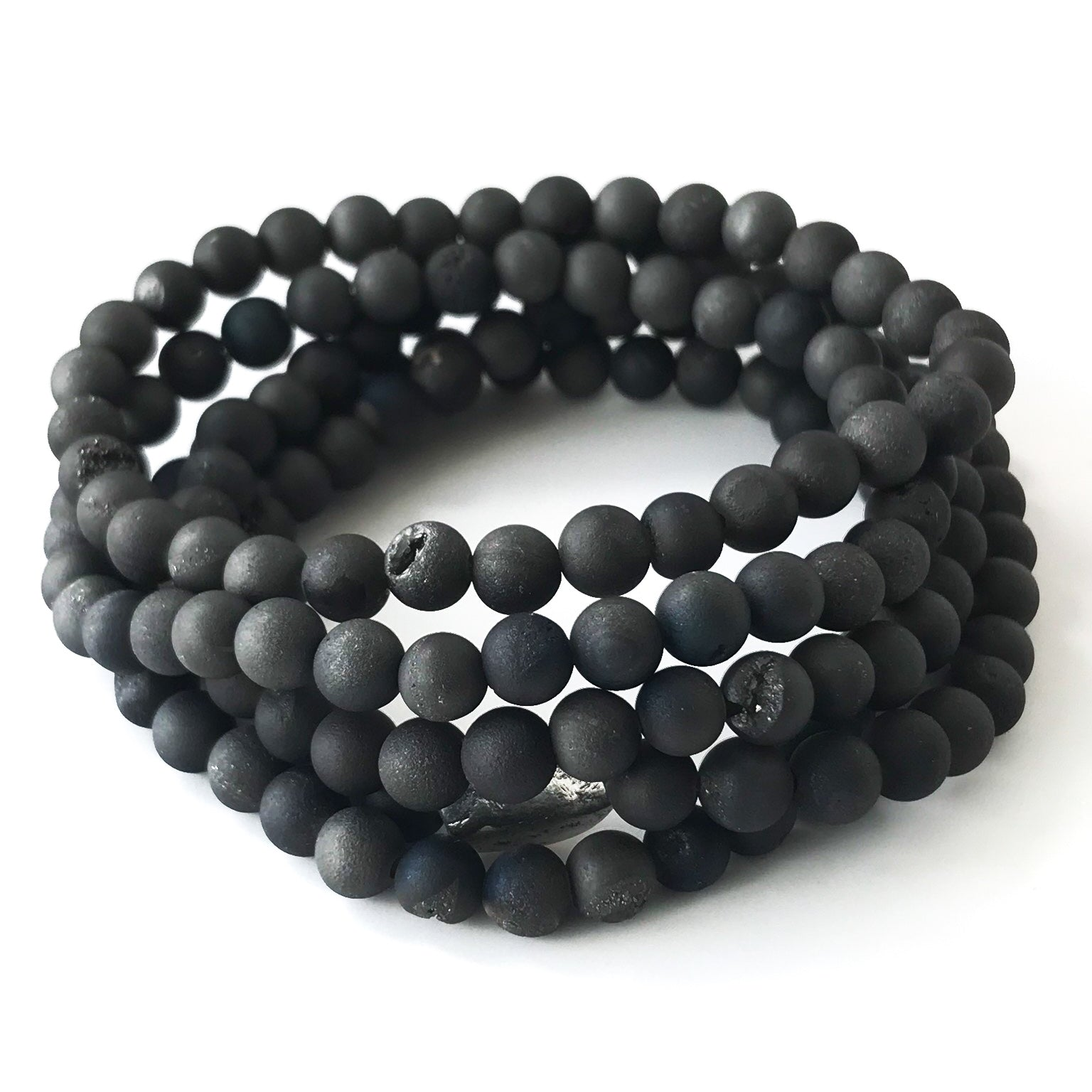 Men's Black Agate Druzy Bracelet