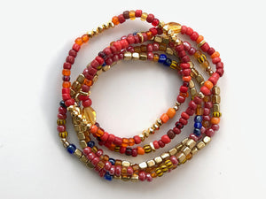 African Red and Gold Small Beaded Bracelets