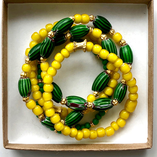 African Yellow and Green Glass Beaded Bracelet