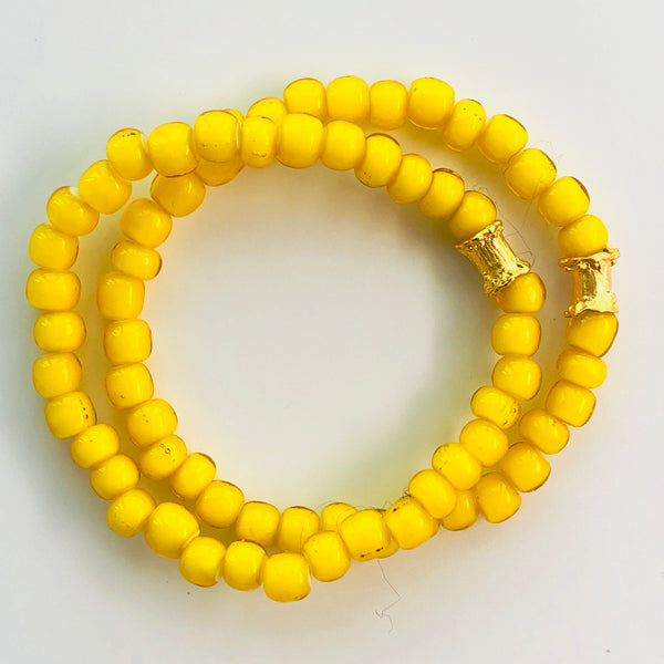 African Yellow Glass Beaded Bracelet