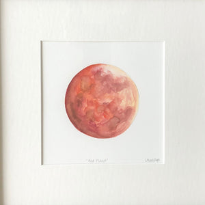 """Red Planet"",  framed watercolor by Lisa, 12 3/4"" by 12 3/4"""