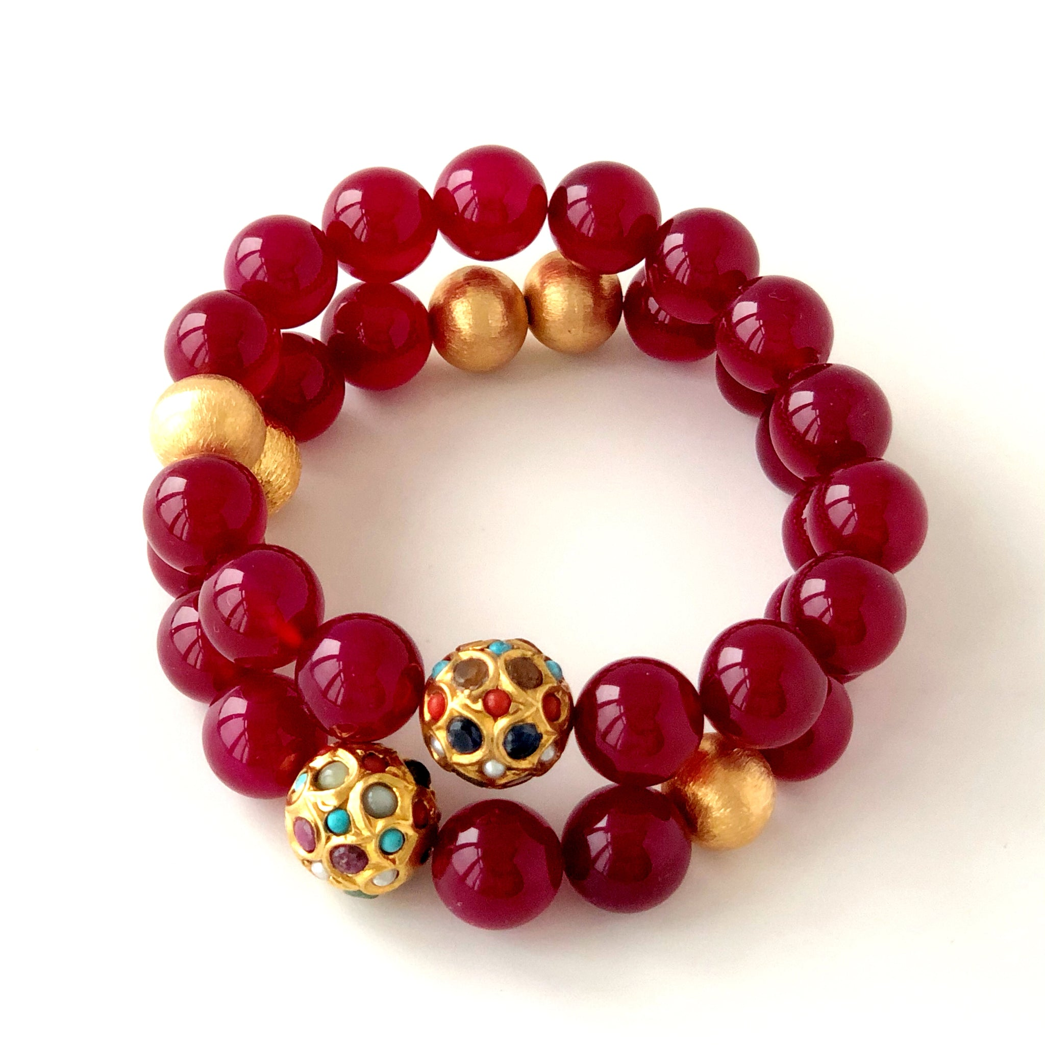 Cherry Agate with Gold and Multistone beads