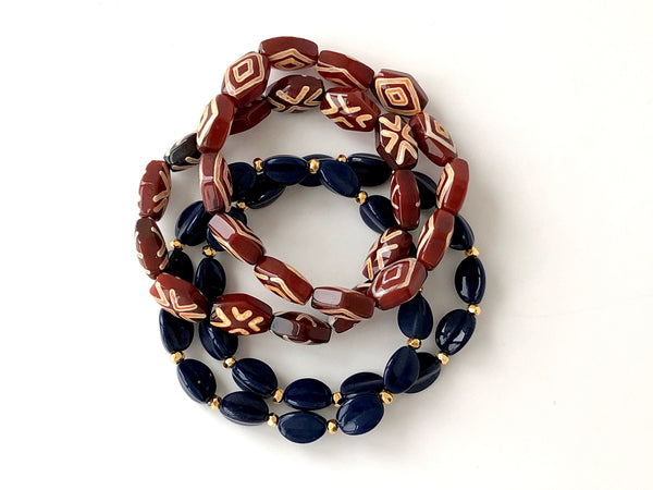 African Blue Glass Pyramid Bead Bracelet