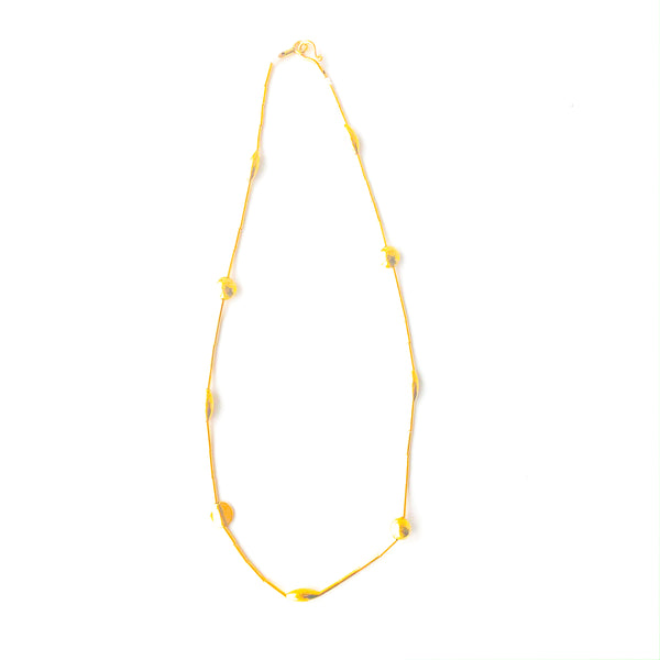 Gold Tube Bead Necklace