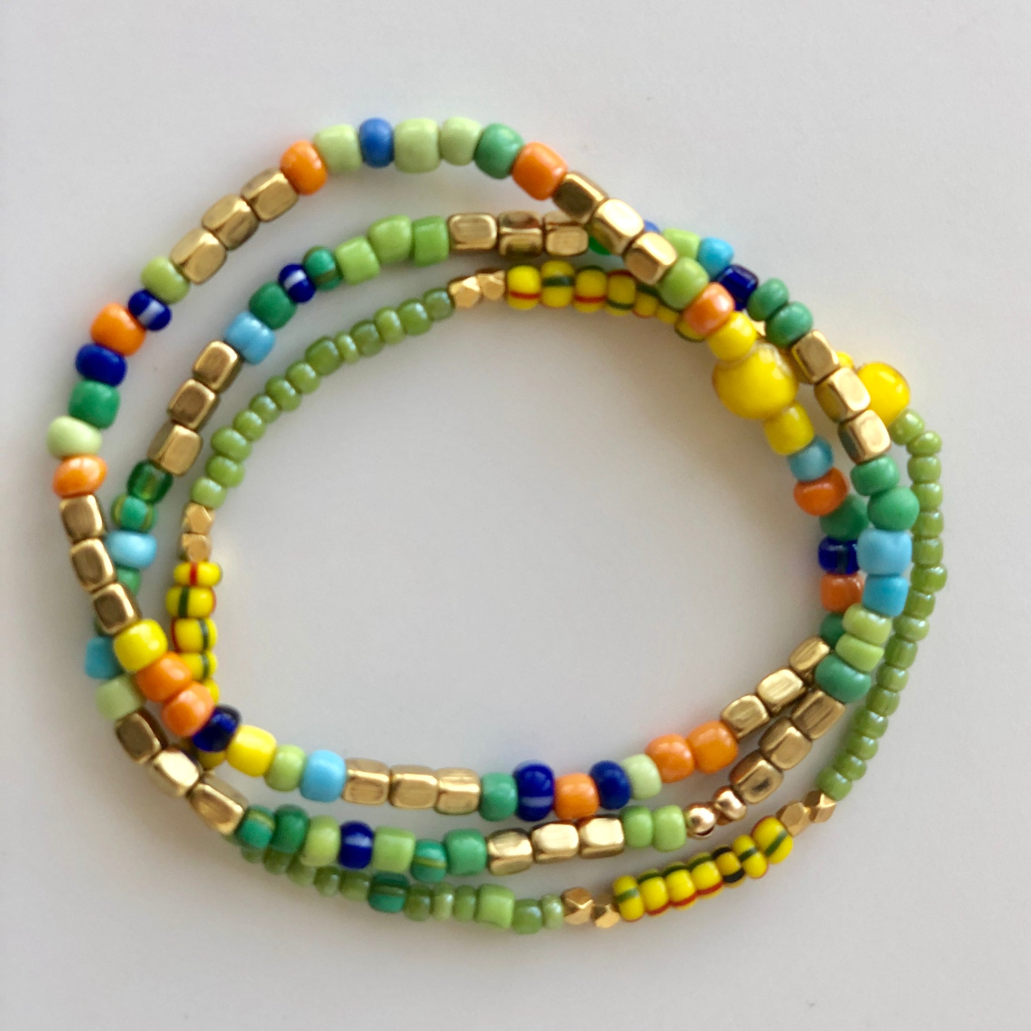 African Green and Gold Small Beaded Bracelets