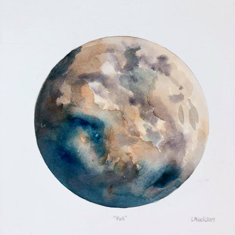 """Full"",  framed watercolor by Lisa, 12 3/4"" by 12 3/4"""