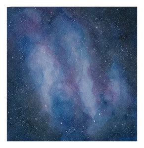 """Galaxy"", medium matted watercolor by Lisa, 8"" x 8"""