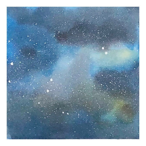 """Galaxy"", small matted watercolor by Lisa, 6 1/4"" x 6 1/4"""