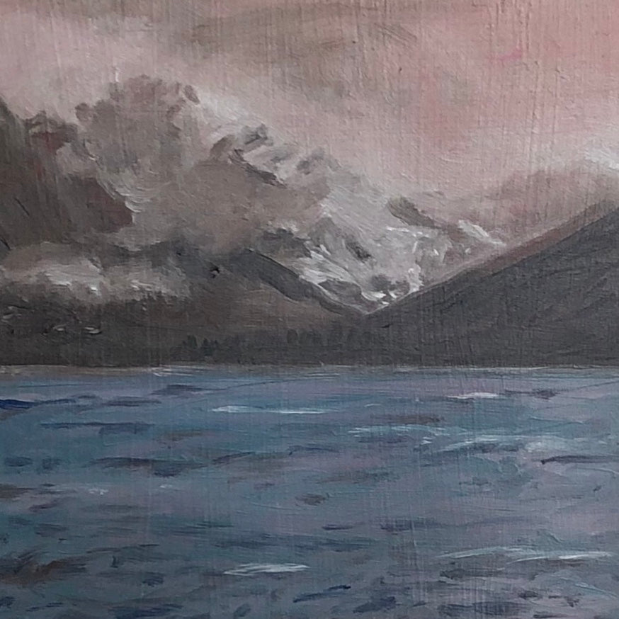 """Icy Water"",  oil painting of Alaska by Lisa, 6"" x 6"""