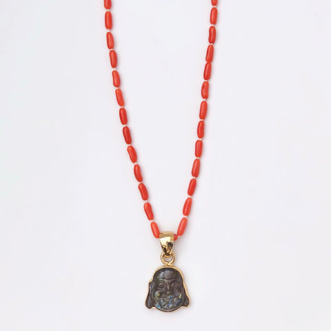 Coral Necklace with Labradorite Buddha