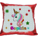 Personalised Christmas Unicorn - Sequin Reveal Cushion:CushionEndlessPrintsUK