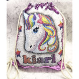Unicorn Drawstring Bag - Sequin Reveal (Pink, Blue or Black):CushionEndlessPrintsUK