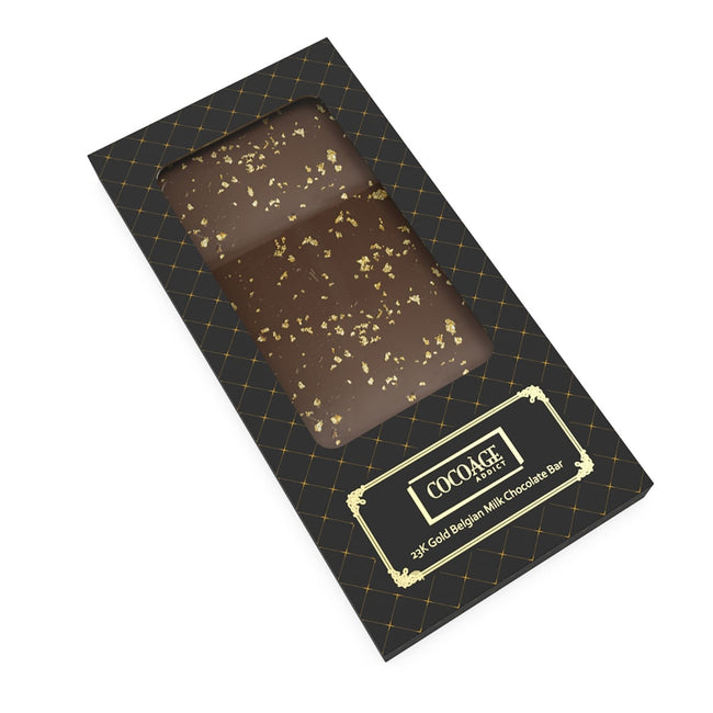 23K Gold Belgium Milk Chocolate Bar - Cocoage Addict