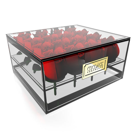 Rectangular Acrylic Flower box - 24 Roses