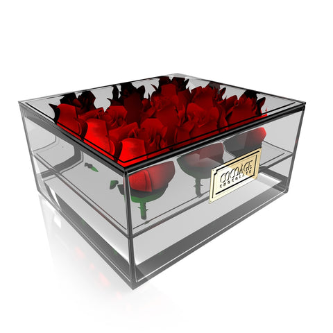 Square Acrylic Flower Box with Drawer - 9 Roses