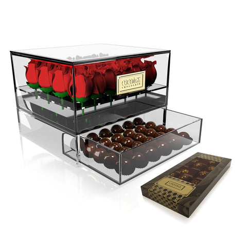 Acrylic Box 24 Roses + Drawer with Gold Foil-Wrapped Chocolate Balls