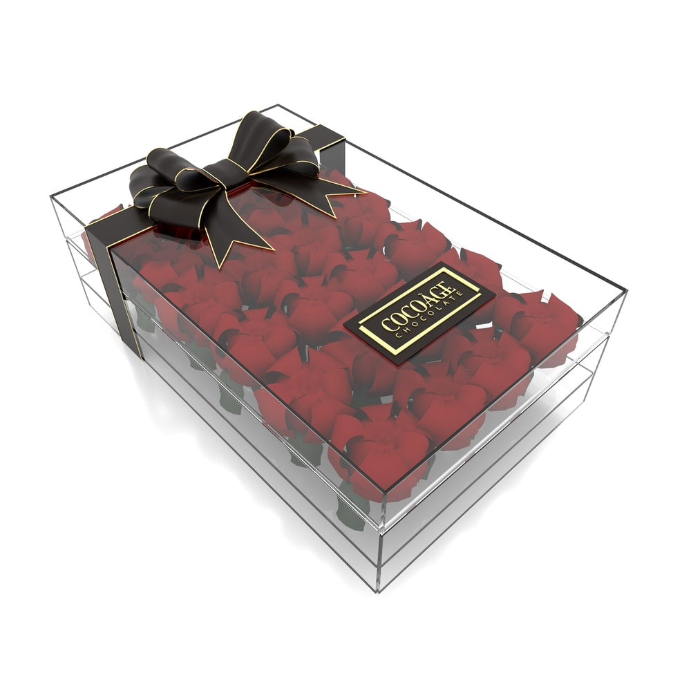 Rectangular Acrylic Flower box - 24 Roses - Cocoage Addict