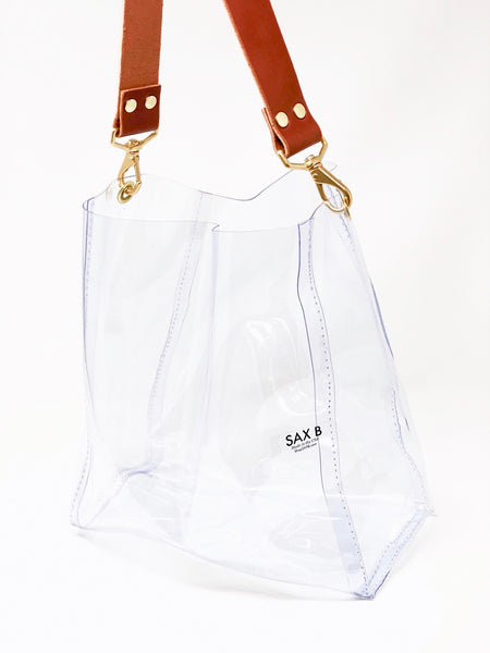 The Small Bucket Tote with Leather Strap - SAX B