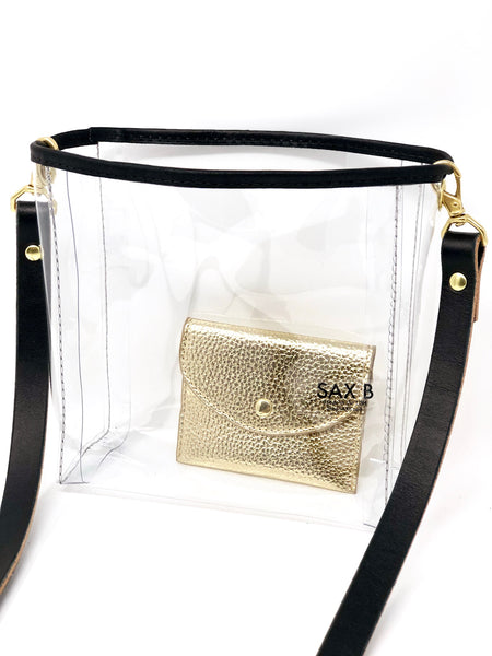 The Crossbody Leather Mini Bucket Tote - SAX B