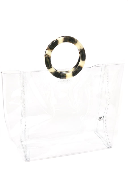 The Large Tote with Tortoise Rings - SAX B