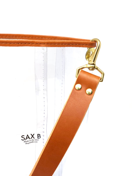 The Small Leather Top Bucket Tote - SAX B